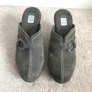 Dr Scholl's Gray Suede Clog Mule Size 7